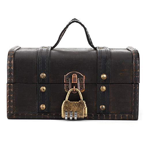Schatkist met slot, houten juwelendoos container ring oorbel vintage opbergkoffer, schatkist piraat houten kist bureau decoratie voor geschenken