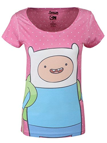 ADVENTURE TIME Damen T-Shirt Adventure Time Finn With Dots Women\'s T-shirt, Pink (ts160107adv-xs),, Gr. X-Small,Rosa (Pink)