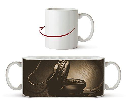 Efecto de auriculares estéreo: Sepia como taza de 300 ml, de cerámica blanca, ideal como regalo o su nueva taza favorita.