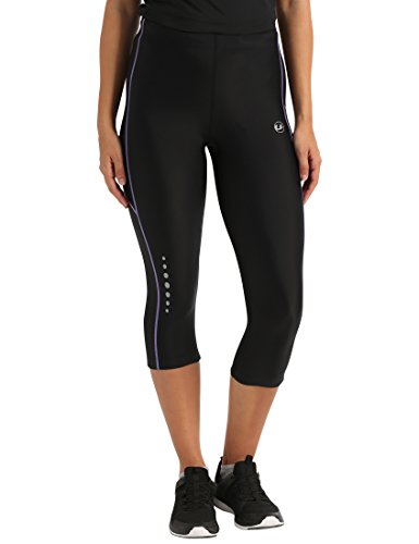 Ultrasport, Pantalones deportivos 3/4 para Mujer, Negro/Lila, L