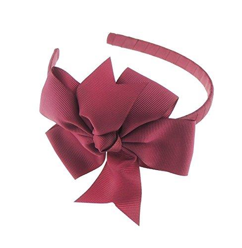 Glamour Girlz Girls Party School Large Grosgrain Ribbon Bow 1cm Headband Alice Band Forked Burgundy