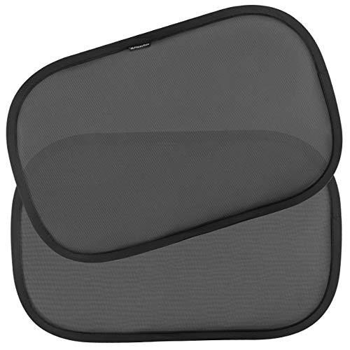 Kinder Auto-Sonnenschutz, neue und verbesserte Version - Selbsthaftende Sonnenblenden zum Schutz for schädlicher UV-Strahlung - Baby Sonnenschutz für Seitenfenster - Einheitsgröße (2 Stück) (Schwarz)