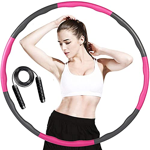 ACPURI Hula Hoop Reifen Erwachsene, Fitness Hoola Hoop Kinder Schaumstoff, Abnehmbarer 6-8 Knotens, Φ95cm - mit 2,8m Springseil