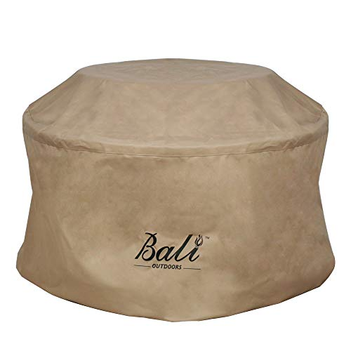 BALI OUTDOORS 32 Inch Fire Pit Round Cover Column, Heavy Duty, Waterproof and Weather Resistant Oxford Fabric Cover, Brown