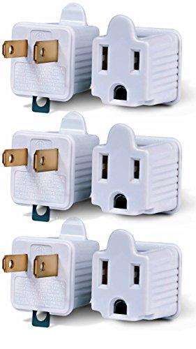 Adaptador de 3 clavijas a 2 clavijas convertidor de conexión a tierra de 3 pines a 2 pines de alimentación CA elevador de tierra para enchufes de pared, eléctrico, hogar, talleres, industriales y electrodomésticos.