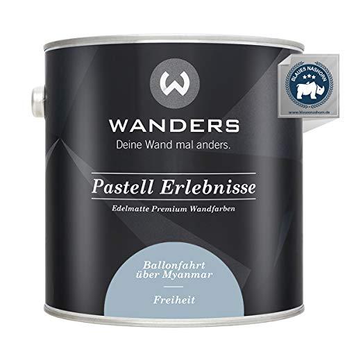 Wanders24® Pastell Erlebnisse (2,5 Liter, Freiheit) edelmatte Wandfarbe - Feine Farben - in 40 Farbtönen - Wandfarbe Grau - Made in Germany