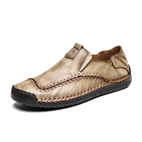 Herren Lederschuhe Leder Spring & Summer Vintage/Chinoiserie Loafers & Slip-Ons-Walking-Schuhe atmungsaktiv Schwarz/Braun/Party & Evening/Outdoor,Khaki,6.5 UK