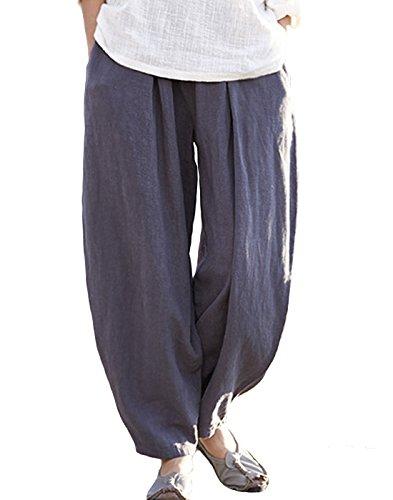 Happy Cherry Femme Pantalon Lin Coton Large Pants Yoga Sport Danse Pantalon Loisirs Taille Élastique - Gris