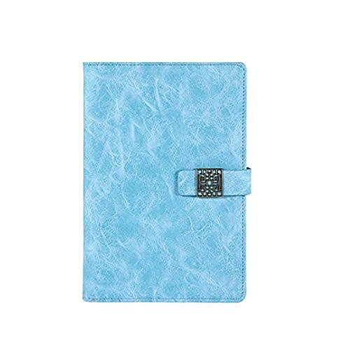Cakunmik Cuaderno de Espiral, Gris Claro para Hojas Simples Sueltas Diario de Viaje Recargable Bloc de Notas Adulto Notepad Vintage Anillo Ligero Ligero Cuaderno,Azul