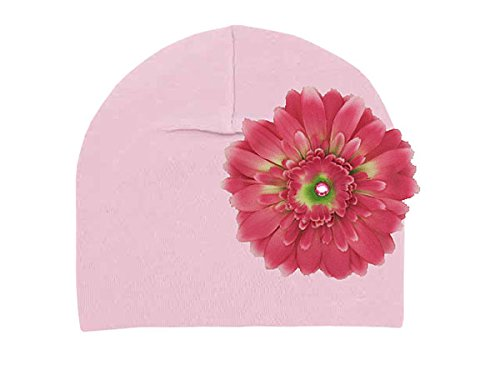 Jamie Rae Hats - Pale Pink Cotton Hat with Candy Pink Daisy, Size: 4Y-6Y