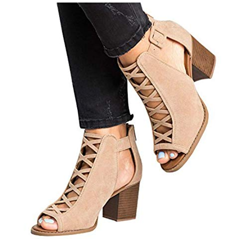 ZBYY Womens Open Toe Heel Sandal,Fashion Buckle Strap Chunky High Heel Sandals Faux Suede Cutout Party Dress Booties Khaki