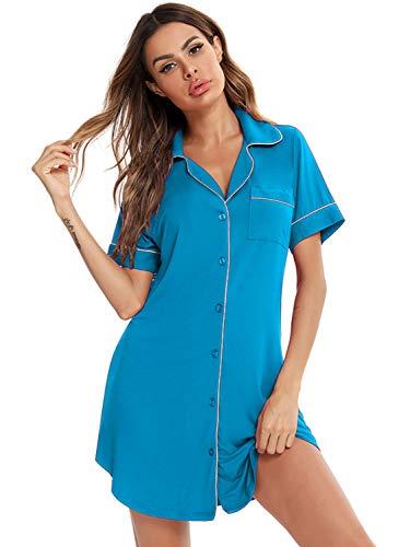 O.AMBW Camisa de Noche Larga con Botones Ropa de Pijama Sexy Elegante con Bolsillo Delantero Prenda de Manga Corta con Escote en V Camison Suelta para Mujeres Jovenes Duerme Mejor Sueño Profundo