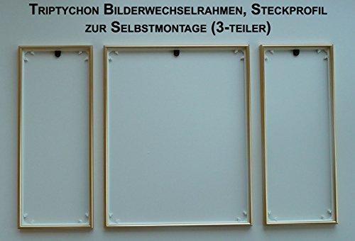 Unbekannt Bilderrahmen Triptychon Für Z. B. Schipper Und Ravensburger Malen Nach Zahlen Bilder, Gold - Matt, Gold-Matt