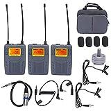 Akozon Micrófono inalámbrico Manbily UHF Dual Channel Wireless Lavalier One for Two Micrófono para grabación de entrevistas Sistema de micrófono Lavalier Lapel Mic