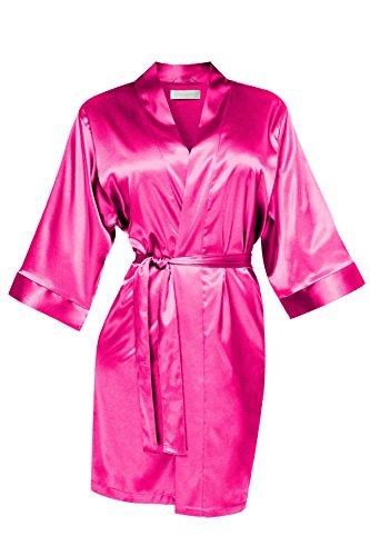 VA-Fashion Damen Morgenmantel Kimono Nachtwäsche Satin kurz pink