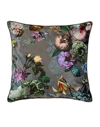 ESSENZA Dekokissen Quadratisch Fleur Blumen Pfingstrosen Tulpen Polyester Taupe, 50x50 cm