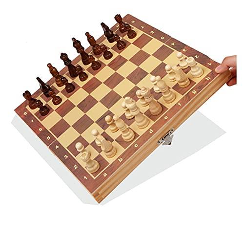 XHHDP 3 en 1 Juego de Mesa de ajedrez de Madera Plegable Grande Juego de Juegos de ajedrez para niños, con Almacenamiento Interno Plegable portátil (representado, (39 * 39 cm))