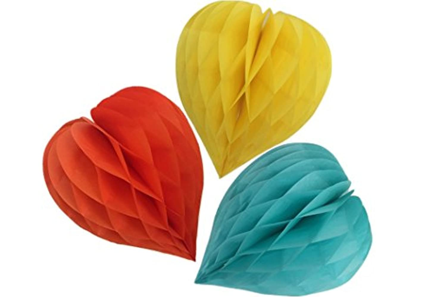 Matissa Pack of 3 Valentines Decoration Heart Shaped Paper Honeycomb Birthday Party Wedding Available in 11 Colours 3 Sizes (Orange + Yellow + Mint Green, 10