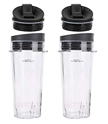 2 Pack 16 oz Blender Cups Set for Ninja Replacement Parts Single Serve Cup with Lid and Sip N Seal Lid Compatible withNutri Ninja BL660 BL770 BL780 BL740 BL810 BL820 BL830 Professional Blender by