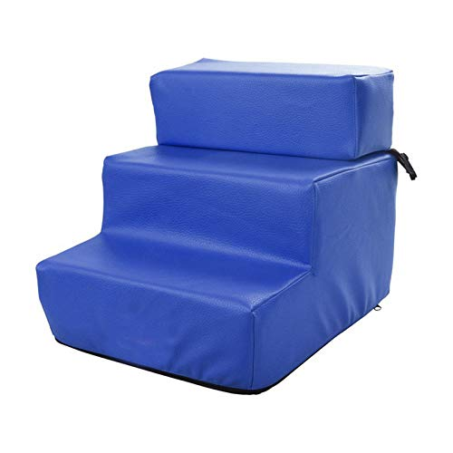 LHY-TRAVEL 3-Stufige Haustreppe, rutschfeste Lederzogene Waschbare Faltbare Hundestufen, Weiche Gepolsterte Überdachte Katze Hunderampe Für Hohe Betten,Blau