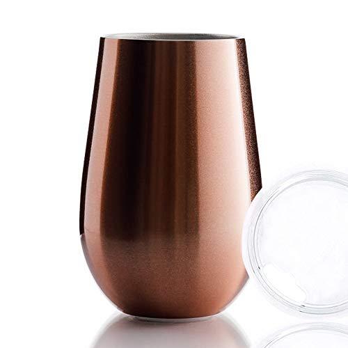 BOHORIA® Premium Edelstahl Isolierbecher   Thermo-Becher   Wein-Glas to go   Cocktail-Glas   Doppelwandig & Vakuumisoliert – (350ml)   Reisebecher mit Deckel für Kaffee, Tee (Rose Gold)