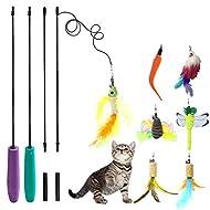 YINVA 9Refills Cat feather toy Catnip Toys Interactive Train Best Teaser Mouse Butterfly Bird Drago...