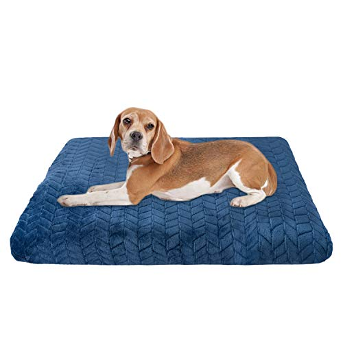 "AIPERRO Orthopedic Dog Bed Crate Pad Mat with Removable Washable Cover, Non Slip Plush Pet Sleeping Mattress Thick Soft Cotton Cushion for Small Medium Large Dogs (Blue, 35"" x 23"") Beds"
