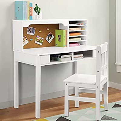 BackH Kids Desk and Chair Set, Child Study Writing Desk with Hutch Wooden Kids Bedroom Furniture, White from BackH