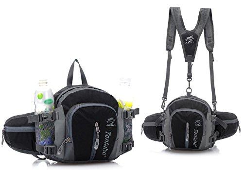 BXT Wasserdichte Reisen Hüfttasche Trinkgürtel mit 2 Flaschenhalter Bauchtasche Bergsteigen Gürteltasche Geld Gürteltasche Hip Pouch Laufgürtel für Wandern Outdoor