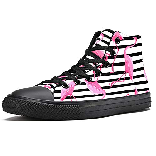 Zapatillas altas para hombre con rayas blancas y negras con flamencos a la moda con cordones zapatos de lona casuales para caminar, (Multi color), 43.5 EU