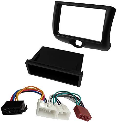 AERZETIX - Kit di montaggio per autoradio standard 1 e 2DIN - Mascherina telaio, cavo di collegamento e adattatori per antenna - Nero - C41000A