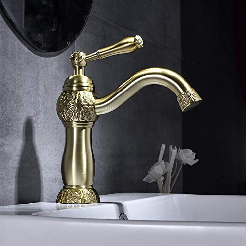 WANDOM Robinet en laiton vieux robinet de salle de bain seulement un stylo poignée rotative sculpté robinet banheiro torneira