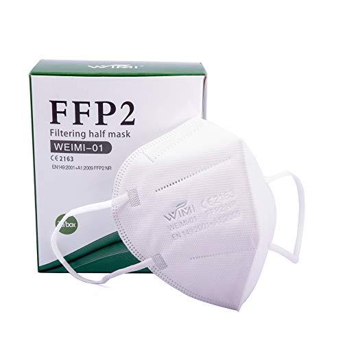 20x einzeln verpackte WIMI FFP2Makse, CE 2163 Zertifiziert nach EN149: 2001 + A1: 2009, Faltbare Halbmasken mit Nasenbügel und weichen elastischen Ohrschlaufen Mundschutz Atemschutzmaske