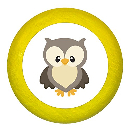 Kommodengriff Eule gelb Holz Kinder Kinderzimmer 1 Stück Waldtiere