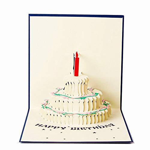 3D Geburtstagskarte, Pop-Up gefaltete Karte mit 3 Schichten Kuchen, Geburtstag Grußkarten mit Umschlag für sie, Mama, Mädchen, Jungen, Kinder festgelegt (Blue)
