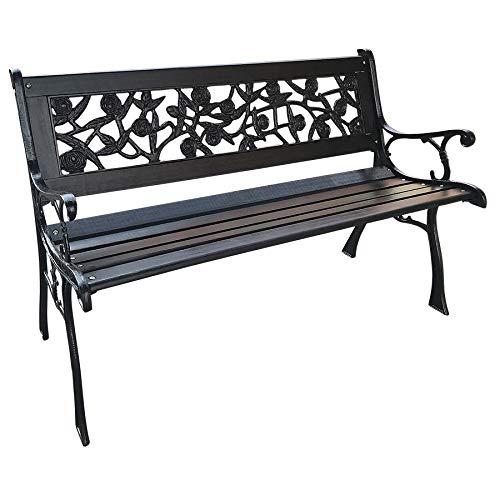Rozen parkeerbank van hardhout met stalen frame - kleur: zwart - tuinbank hout bank hardhout decoratieve bank zitbank rozendecor