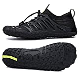 UBFEN Water Shoes Aqua Shoes Swim Shoes Mens Womens Beach Sports Quick Dry Barefoot for Boating Fishing Diving Surfing with Drainage Driving Yoga Size 15 Women / 13 Men E Black