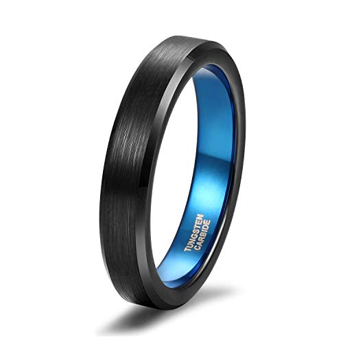 Titaniumcentral, anelli di fidanzamento per uomo e donna, in carburo di tungsteno spazzolato nero e tungsteno, 15, colore: blu (4 mm)., cod. TICDEWGJZ355B