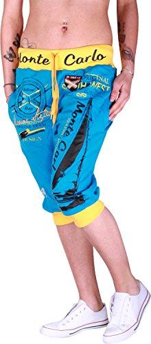 Glowinko dames jogging bermuda shorts | korte joggingbroek voor vrouwen | lichte katoenen broek met zakken | korte trainingsbroek met manchetten | vrijetijdsbroek Monte Carlo 565