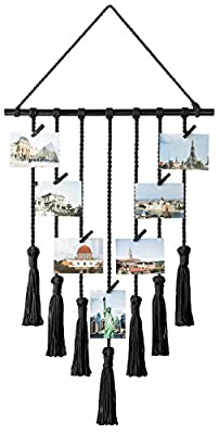 "Mkono Hanging Photo Displays Macrame Wall Hanging Picture Organizer with 30 Wood Clips Boho Decor for Home, Living Room, Bedroom, Ivory White, 42.5"" L×17"" W"
