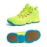 Zapatos Hombre Deporte de Baloncesto Sneakers de Malla para Correr Zapatillas Antideslizantes Negro Rojo Champán Verde Brillante 36-46 Verde Brillante 36