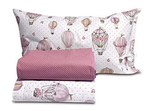 Confezioni Giuliana Completo Lenzuola Shabby Rose Mongolfiere Rosa 100% Cotone 1p - 1p E 1/2-2p, 1 Piazza