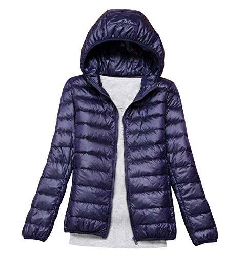 Lightweight Down Jacket Women with Hood Womens Down Coats Women's Ultra Light Packable Down Jacket Down Filled Coat Parka Quilted Padded Hooded Puffer Jacket Ladies Bubble Puffa Jacket Winter Navy