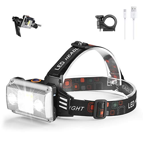 Lampade da Testa LED USB Ricaricabile, Torcia Lampade Frontale 10000LM con 3 LED 4 Modalità, Zoomabile Impermeabile per Correre, Campeggiare, Speleologia, Pesca, Cacciare (Black)