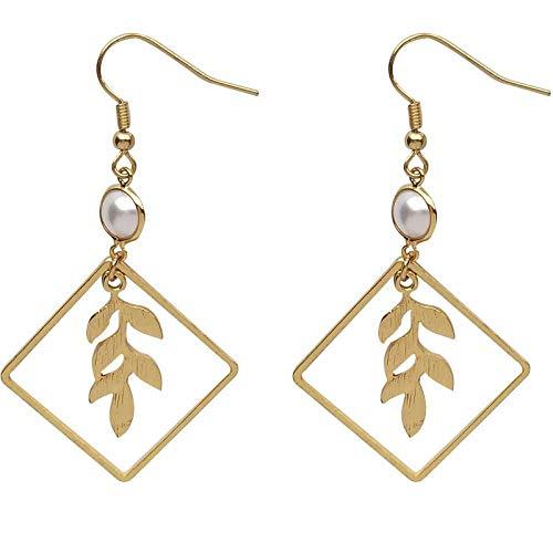 RONGW JKUNYU Gold Plated Sweet Pearl Sen Earrings Square Leaf Earrings Student