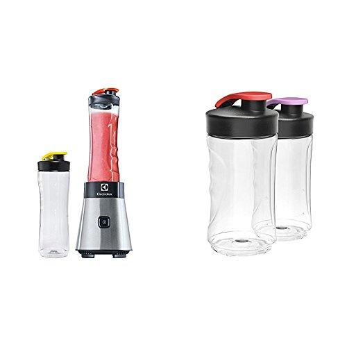 Electrolux ESB2500 Sportsblender Mini Frullatore, 2 Bottiglie 0.6 l in Tritan Antirottura + SBEB2 Bottiglie Infrangibili Senza BPA per Minifrullatore Sportsblender da 300 ml, 2 Pezzi