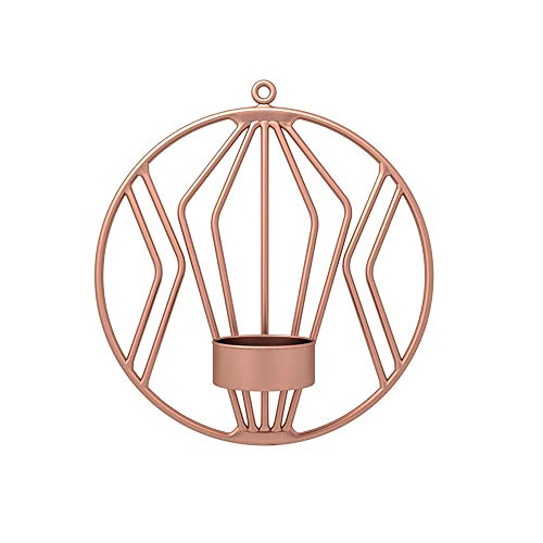 LWZko Wandkerzenhalter Wandleuchter, Wandkerzenhalter Kerzen, Hängende Wandleuchte Kerzenhalter, 19cm Runden Metalleisen Kerzenhalter Beleuchtungsdekoration für Wohnzimmer, Esszimmer, Bar (Roségold)