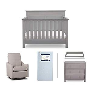 Serta Fall River 5-Piece Nursery Furniture Set (Serta Convertible Crib, 4-Drawer Dresser, Changing Top, Serta Crib Mattress, Glider), Grey/Beige