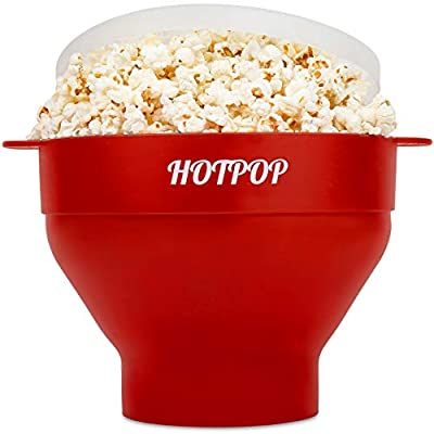 The Original Hotpop Microwave Popcorn Popper, Silicone Popcorn Maker, Collapsible Bowl Bpa Free and Dishwasher Safe- 17 Colors Available (Cherry)
