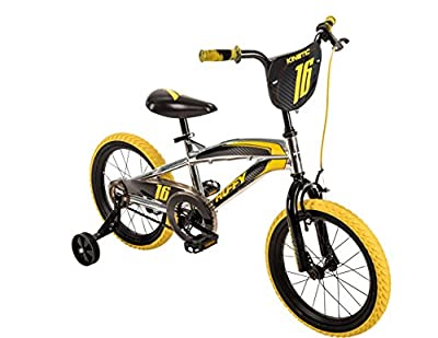 "16"" Huffy Kinetic Kids Bike, Yellow w/ Removable Training Wheels, One Size by Huffy"